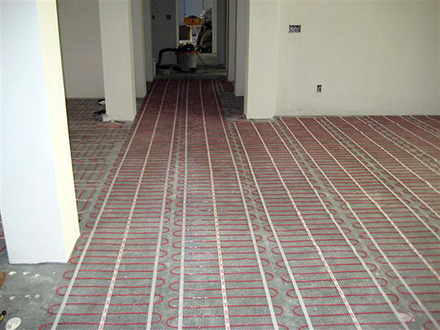 Heated floor installation.