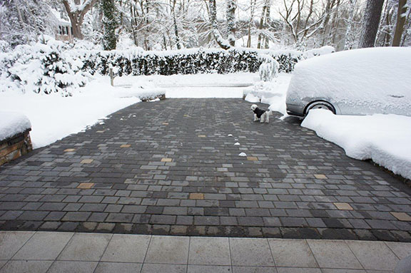 Heated paver driveway.